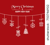 christmas greeting card with... | Shutterstock .eps vector #753746932