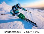good skiing in the snowy... | Shutterstock . vector #753747142