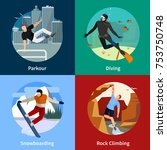 colorful extreme sports people... | Shutterstock . vector #753750748