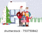 young people friends outdoors... | Shutterstock .eps vector #753750862
