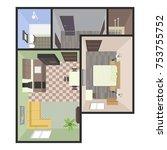 architectural color floor plan. ... | Shutterstock .eps vector #753755752