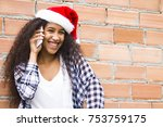 Afro Young Woman With Santa...