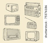 retro tv and radio set | Shutterstock .eps vector #75376186