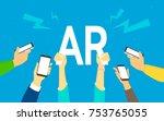 flat human hands hold big ar...   Shutterstock .eps vector #753765055