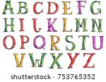 hand drawn colorful alphabet ... | Shutterstock . vector #753765352