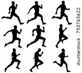 set of silhouettes. runners on... | Shutterstock .eps vector #753765622