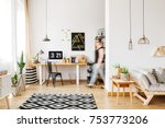 freelancer walking into her... | Shutterstock . vector #753773206
