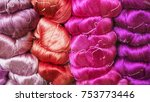 colorful silk thread. raw... | Shutterstock . vector #753773446