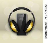 image headphones on smartphone...   Shutterstock .eps vector #753775822