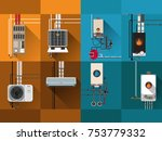 cooling and heating systems gas ... | Shutterstock .eps vector #753779332