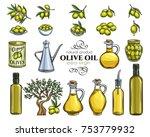 set vector hand drawn olives ... | Shutterstock .eps vector #753779932