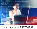 young woman working with... | Shutterstock . vector #753780232