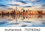 new york city at sunset  lower... | Shutterstock . vector #753782062