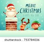 merry christmas  santa claus in ... | Shutterstock .eps vector #753784036