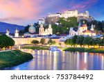 historic city of salzburg with... | Shutterstock . vector #753784492