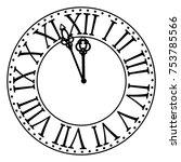 vintage clock with roman... | Shutterstock .eps vector #753785566