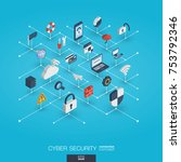cyber security integrated 3d... | Shutterstock .eps vector #753792346