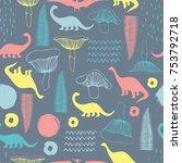 seamless pattern with cartoon... | Shutterstock .eps vector #753792718