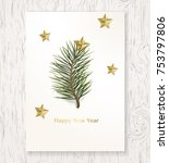 happy new year greeting card... | Shutterstock .eps vector #753797806