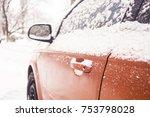 Car Door Handle Winter Frost...