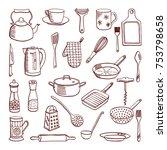 doodle set of kitchenware... | Shutterstock . vector #753798658