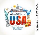 usa  lettering sights symbols... | Shutterstock .eps vector #753798886