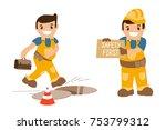 set of illustrations   accident ... | Shutterstock .eps vector #753799312