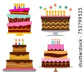 set of four sweet birthday cake ... | Shutterstock .eps vector #753799525