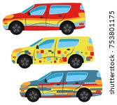 a set of three cars painted in... | Shutterstock .eps vector #753801175