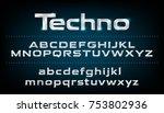 alphabet font. metallic  silver ... | Shutterstock .eps vector #753802936