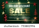 turquoise merry christmas sale... | Shutterstock .eps vector #753802996