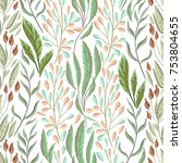 seamless pattern with marine... | Shutterstock .eps vector #753804655