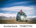 love couple on the roof of the... | Shutterstock . vector #753807742