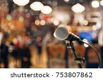 microphone on a stand ready for ... | Shutterstock . vector #753807862