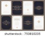 monogram creative cards...   Shutterstock .eps vector #753810235