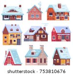 winter houses collection.... | Shutterstock .eps vector #753810676