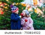 two little smiling siblings ... | Shutterstock . vector #753814522