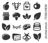 farm and organic food icons set.... | Shutterstock .eps vector #753814858