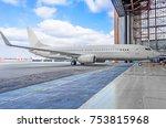 Small photo of Passenger aircraft on maintenance of engine and fuselage repair in airport hangar