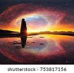 starry sky in a spectacular... | Shutterstock . vector #753817156