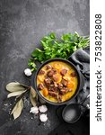 meat stew  goulash in a cast... | Shutterstock . vector #753822808
