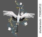 the crane embroidery  vector...   Shutterstock .eps vector #753826912