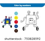 color by number  education game ... | Shutterstock .eps vector #753828592