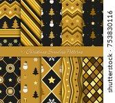 ten christmas geometrical... | Shutterstock .eps vector #753830116