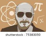 vector illustration of the physics teacher man - stock vector