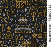 birthday party seamless pattern ... | Shutterstock .eps vector #753837316