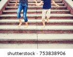 children rushing down on stairs ... | Shutterstock . vector #753838906