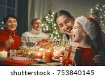 merry christmas  happy family... | Shutterstock . vector #753840145