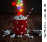 red cup of hot cocoa with... | Shutterstock . vector #753840328