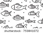 hand drawn seamless pattern... | Shutterstock .eps vector #753841072